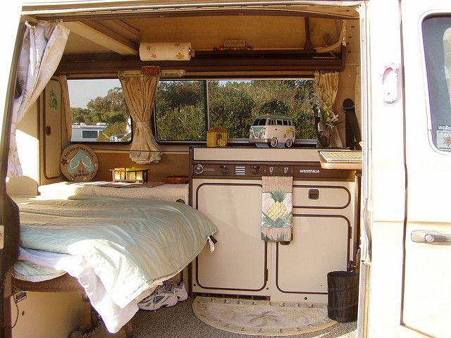 westfalia interior.  spent many nights in one just like this.  When he was young, this was one of my nephew's favorite places to play.  who doesn't love a Westy???