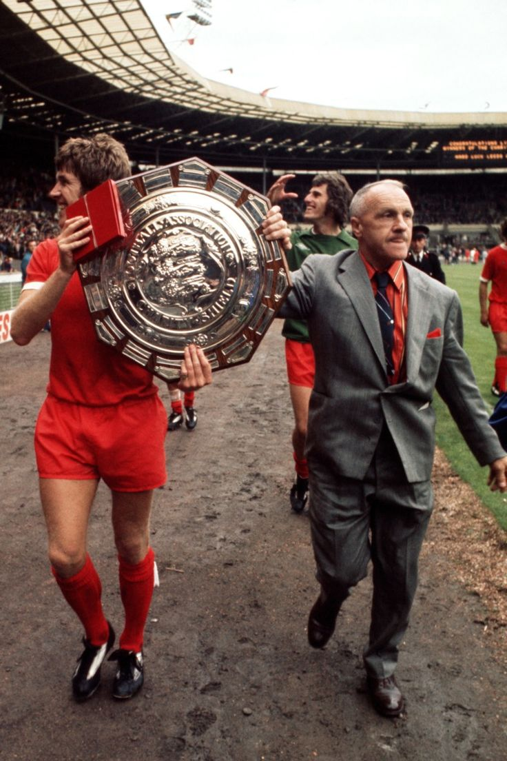 "liverpool-highres: "" Shankly & Emlyn Hughes parade the FA Charity Shield at Wembley 1974 """