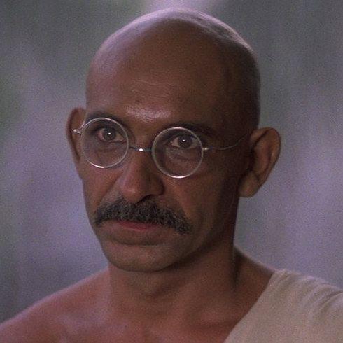 Ben Kingsley as Mohandas Karamchand Gandhi in Gandhi | 23 Incredible Photos Of Actors Vs. The Historical Figures They Played