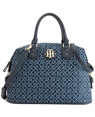 Tommy Hilfiger Handbag, Keepsake Signature Jacquard Bowler Bag - Handbags & Accessories - Macy's