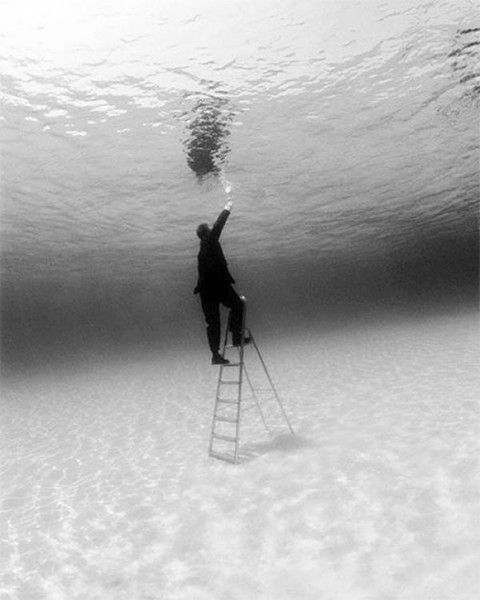 Reaching. A little longer. almost out of this. Swimming with the fishes.....