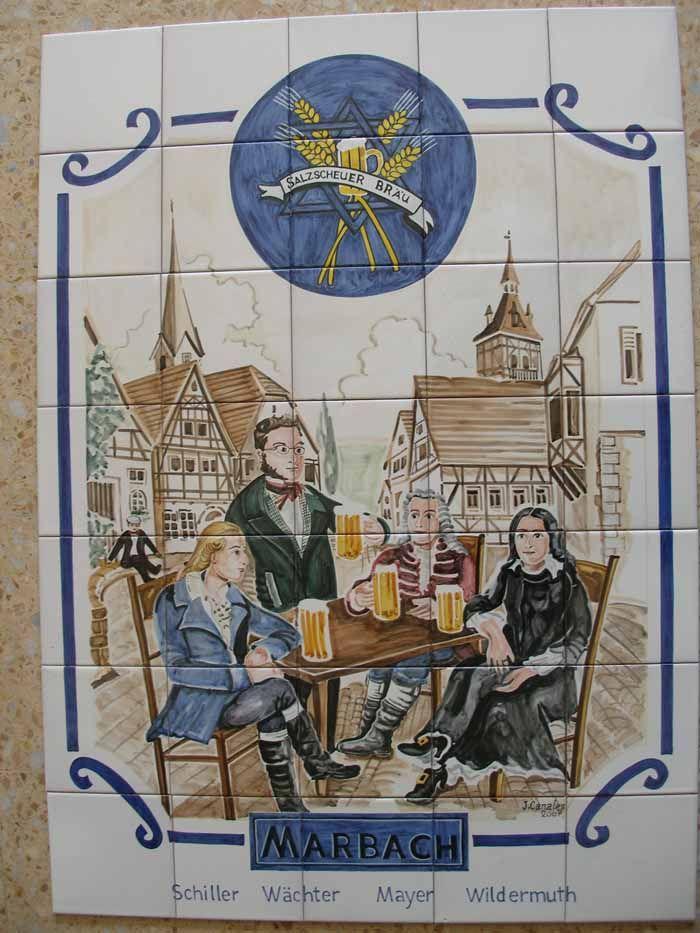 Mural de ceramica de Talavera,decorado a mano,en este caso se hizo para una fabrica de cerveza en Alemania. www.ceramicarosi.com