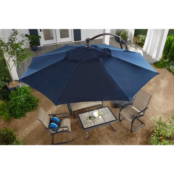Hampton Bay 11 Ft Aluminum Cantilever Solar Led Offset Outdoor Patio Umbrella In Midnight Navy Blue Yjaf052 Mi The Home Depot In 2020 Patio Umbrella Offset Patio Umbrella Outdoor Patio Umbrellas