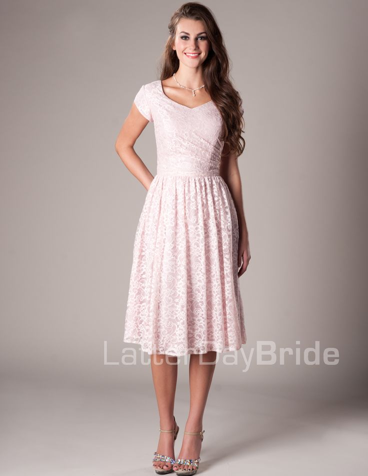 Darby Modest Mormon LDS Bridesmaid Dress. The pomegranate or iron would be cute…