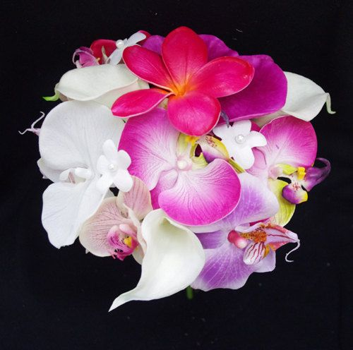 beautiful for my bridesmaid who is wearing hot pink/begonia colored dress. Wedding Fuchsia Pink and Lilac Natural Touch Orchids by Wedideas, $69.00