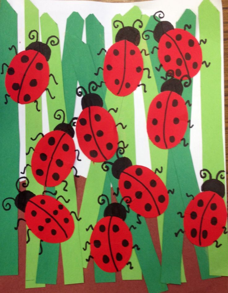 Ladybugs in tall grass art projects for grades k-2.