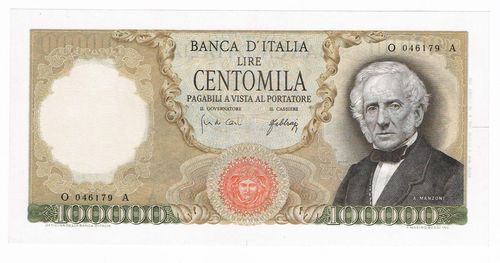 100000 LIRE ALESSANDRO MANZONI