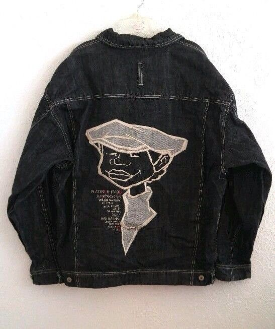Fubu Platinum Jean Jacket Fat Albert Rudy Junkyard Gang Black Denim Men's XL #FUBU #JeanJacket