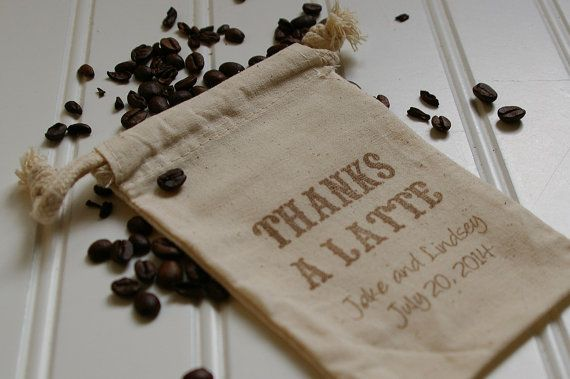 Thanks a Latte Wedding Favor Bags  Hand Stamped by AnnaLouAvenue