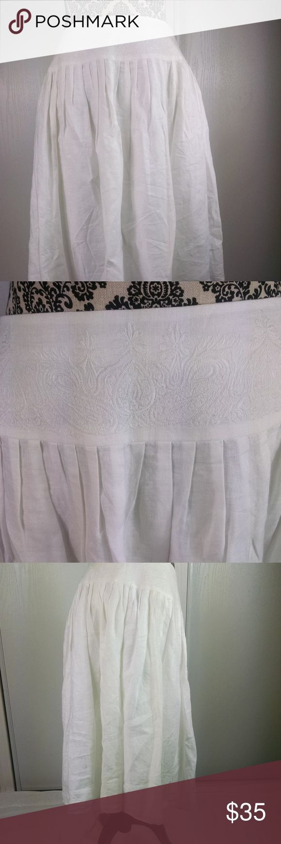 """Lauren by Ralph Lauren skirt size 12 petite white Lauren by Ralph Lauren skirt size 12 petite white flare 100% linen embroidery. Gently used condition, no flaws and from a smoke free home.  Material is 100% linen.  Approximate measurements are 17"""" waist laying flat and 25.5"""" from waist to bottom hem.  We ship same or next business day. Ralph Lauren Skirts"""