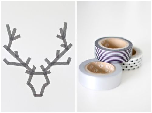 Washi antlers. For the wall, or make-your-own giftwrap, or a card, or a modern fall tablecloth, etc.