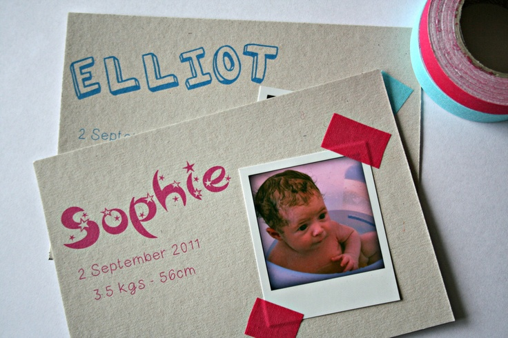 EtsyGreetings Handmade Cards: Baby birth announcement