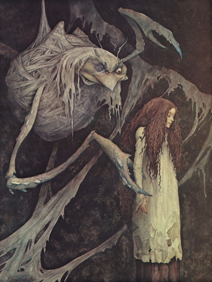 enchantingimagery:  One day I saw a large bunch of twigs and leaves bound up in cobwebs and hanging by a thin thread. A painting by Brian Froud from 1976. I scanned the painting from the book The Land of Froud (1977).: