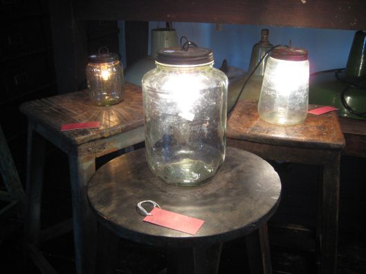Jar lamps. Kabinett Vintage, Kyneton.