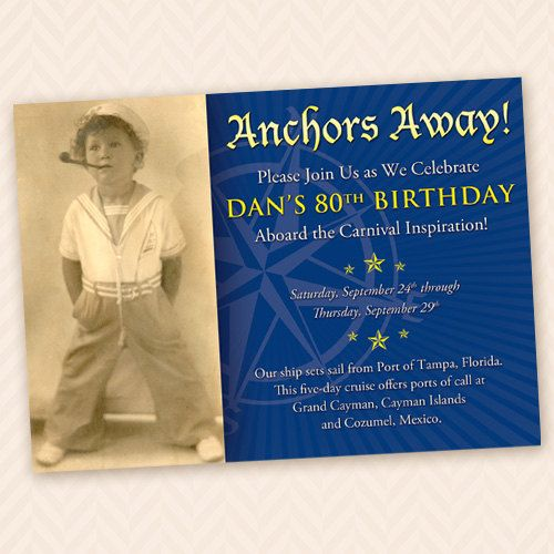 Sailor Theme 80th Birthday Party Invitation by LLPapergoods, $12.00