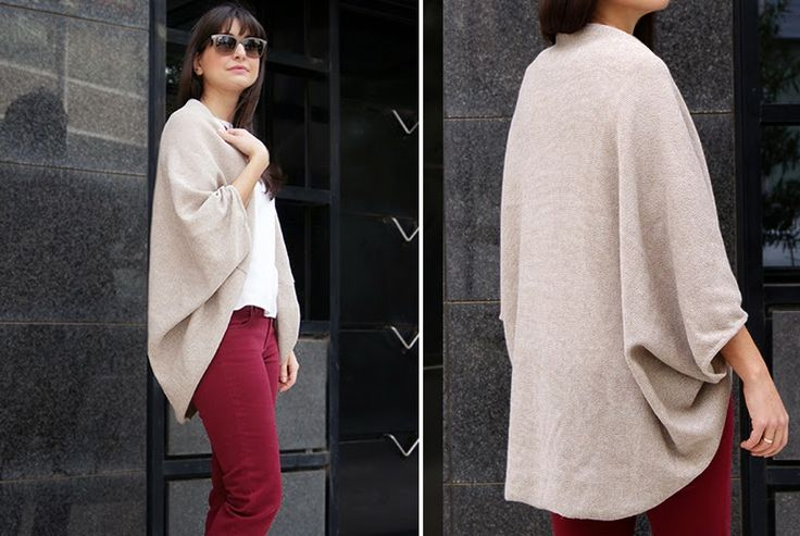 Wardrobe Recycle: Beyond Easy Cocoon Cardigan #DIY. This can be hand sewn and made in lighter or heavier materials depending on the season.