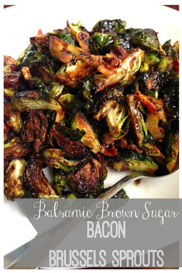 "Tangy brussels sprouts are coated in a bacon-y, brown sugar, balsamic vinegar glazed.  Roasted crispy and delightful.     How often do you hear yourself say ""I love Brussels Sprouts."" Me… Never. Never. Ever. Ever. Until now. I'm a girl. I can change my mind whenever I want. These are too yummy. Perfect side dish for …"