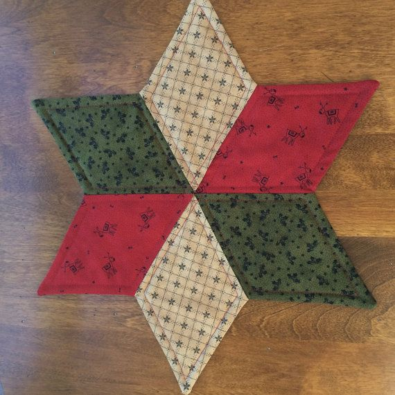 Dress up your dining table, coffee table or side table with this beautiful star table topper. It is the perfect size for displaying a candle, holiday flowers or a candy dish. It is reversible.  It is machine washable using a delicate cycle and cold water.  This star candle mat measures approximately 15 inches from point to point. It was made by me in my smoke-free home.  This listing is for one Star candle mat only. Thanks for looking