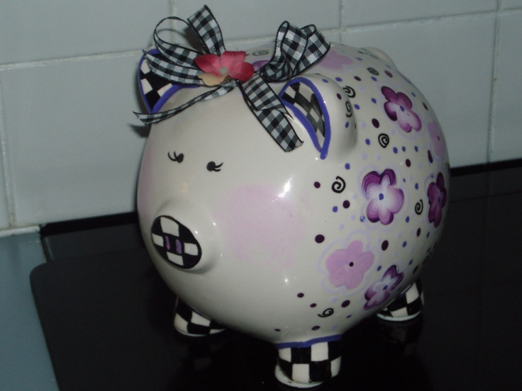 Hand Painted Piggy Bank. $49.00, via Etsy.