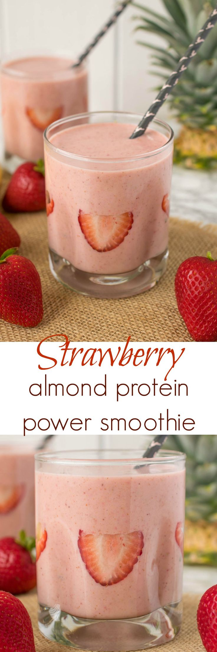 Strawberry, almond protein power smoothie. Fresh strawberries, almond butter…