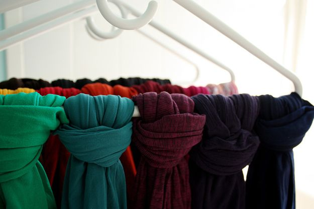 Life Hacks Every Girl Should Know About: Tie your scarves and stockings to hangers for easy storage.