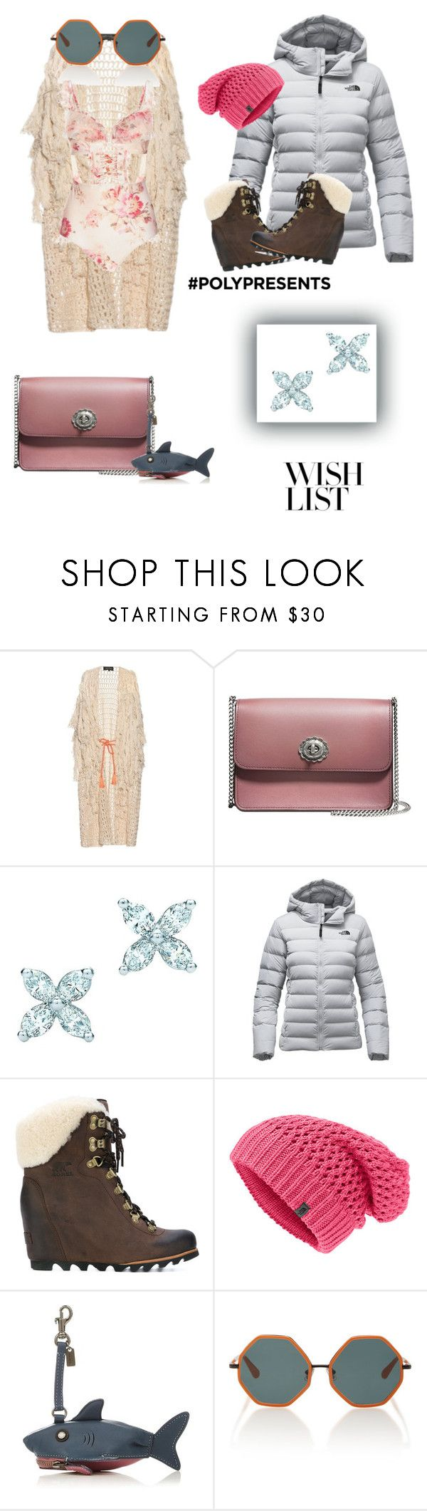"""#PolyPresents: Wish List"" by queenchelleisboomkoo ❤ liked on Polyvore featuring Tabula Rasa, Coach, Tiffany & Co., The North Face, SOREL, Rosie Assoulin, Zimmermann, contestentry and polyPresents"