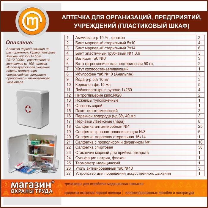 Аптечки первой помощи по распоряжению правительства №1292-РП (сумка,пластиковый шкаф)