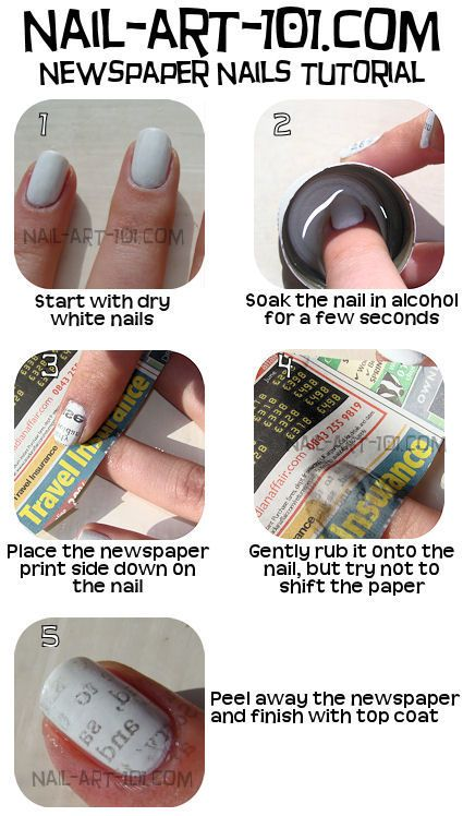 Newspaper Nails Tutorial:  Once you apply the newspaper to your nail, don't move it or your letters will get blurred. Just gently roll your finger over the nail. If the paper isn't wet enough, just add another drop of alcohol with your finger.