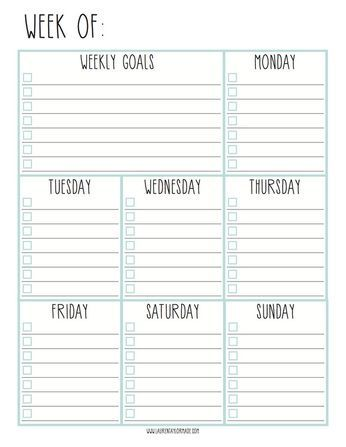 Lauren Taylor Made: Weekly Goals Checklist
