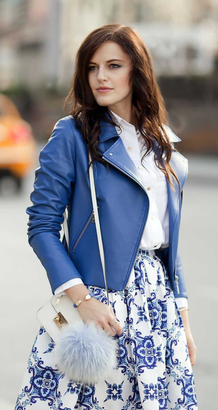 Blue leather jacket by ADAMOFUR #style #spring #leather #leatherstyle #fashion #inspiration #ootd #fashiondetails