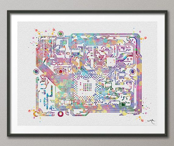 Circuit Board Watercolor Print Science Art Computer Modern Art