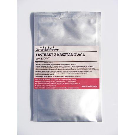 Kasztanowiec ekstrakt 20% 25 g - jest surowcem standaryzowanym na zawartość cennego składnika  jakim jest escyna. Zawiera aż 20% tej aktywnej substancji escyny, która w głównej mierze odpowiada za drogocenny wpływ ekstraktu z kasztanowca na skórę.