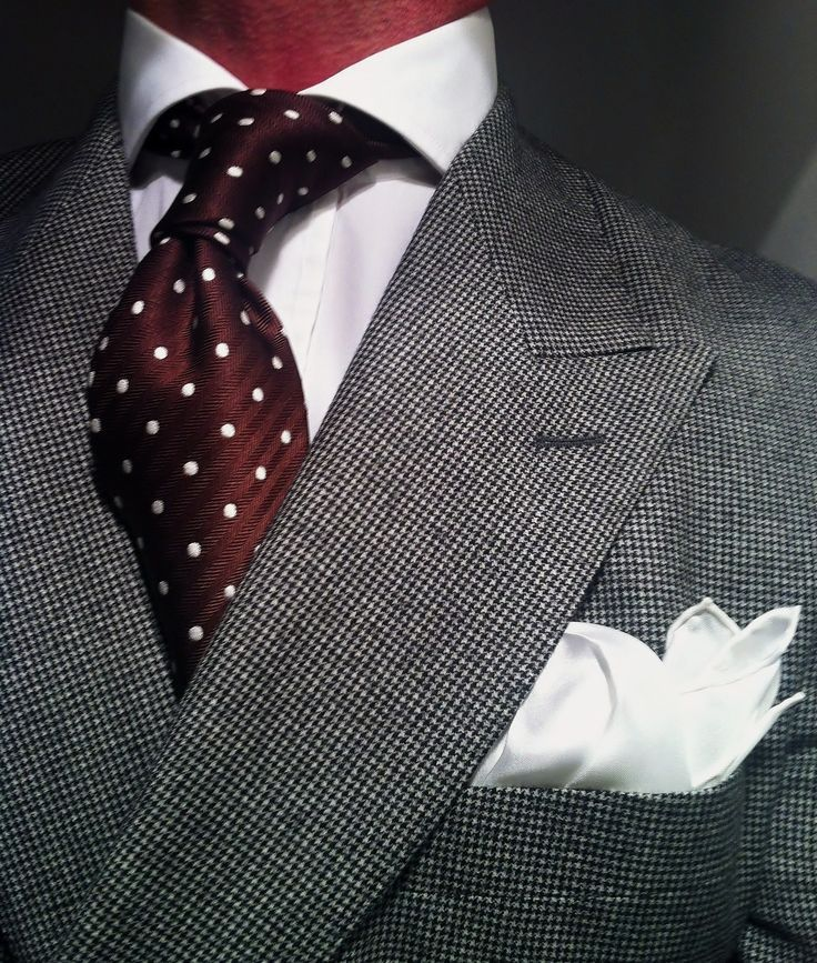 WIWT MTM Houndstooth double breasted suit by Scabal fitted by Lowet Tailors, white shirt by New and Lingwood, brown Tom Ford tie a silk Charvet square.