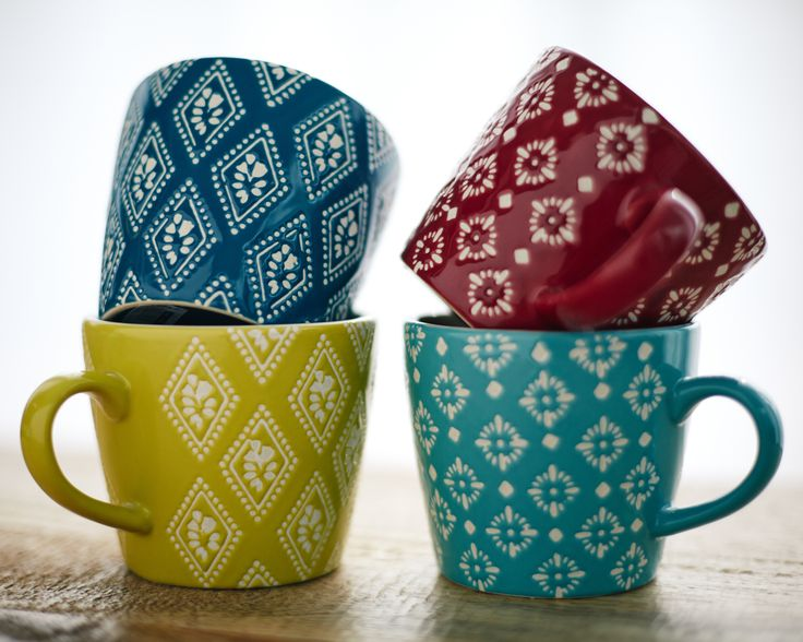 These colourful mugs from Carolyn Donnelly Eclectic will liven any warm beverage and lend designer detail to your kitchen or table