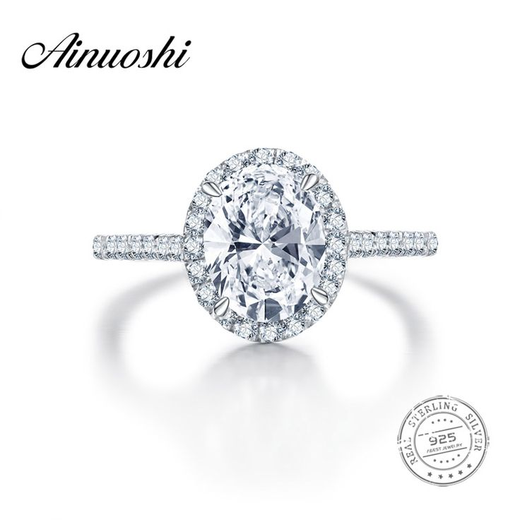 AINUOSHI 2 Carat Halo Oval Cut Engagement Rings for Women Fashion Jewellery nscd Ring Romantic Wedding Anelli Donna Wholesale