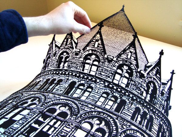 Joe Bagley is a paper artist who lives in Boston. All of his designs are original works, and each is cut by hand. No lasers, dies, or prints!