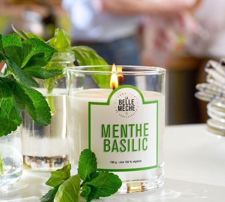 LA BELLE MECHE - Bougie parfumée 100% végétale à la Menthe  et au Basilic - Idéale dans une cuisine