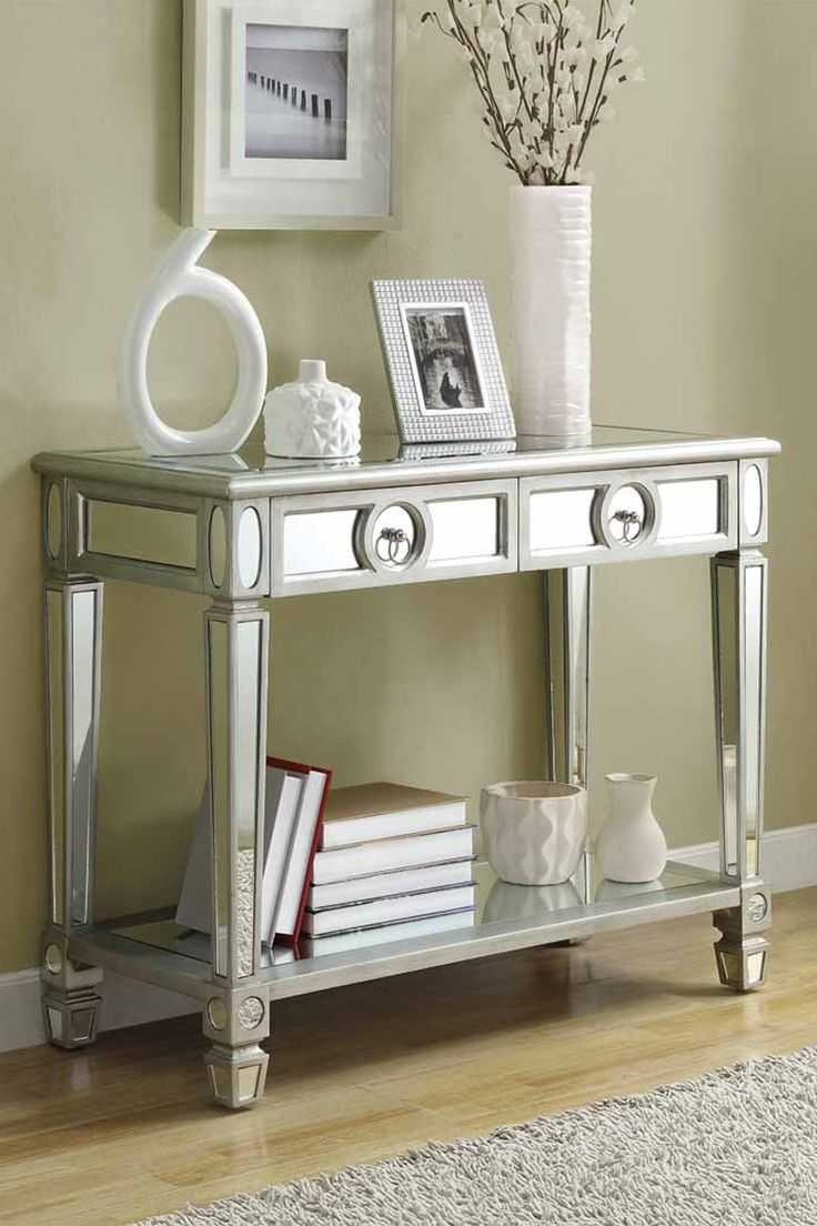 22 best new foyer table images on pinterest drawers bathroom brushed silver sofa table on hautelook geotapseo Images