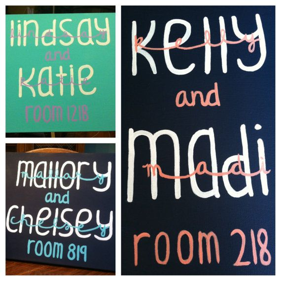 { 12x16 Dorm Room Name Sign }  This canvas is the perfect size for hanging outside of your dorm room! Its an adorable way to decorate your