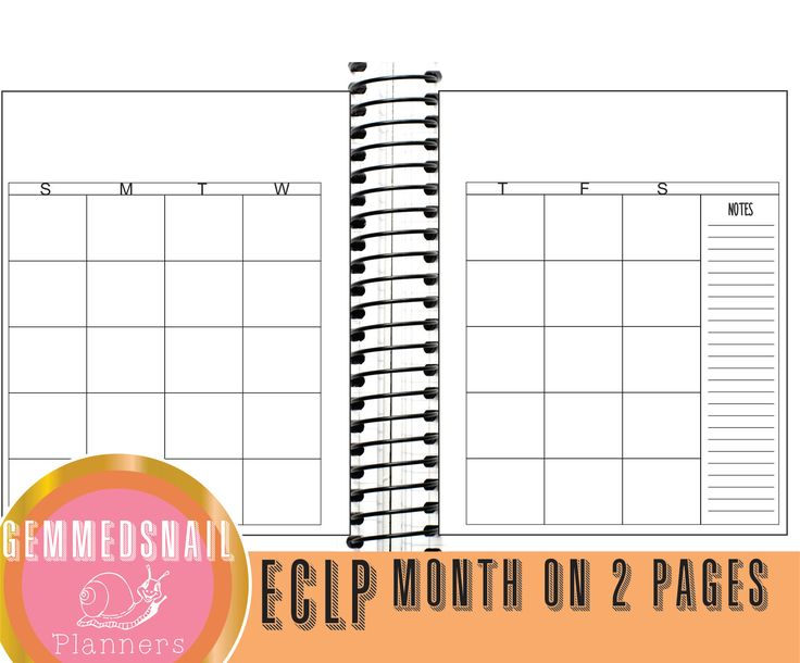 Erin Condren monthly spread. Printable Month on 2 pages, Erin Condren page size print onto letter size paper