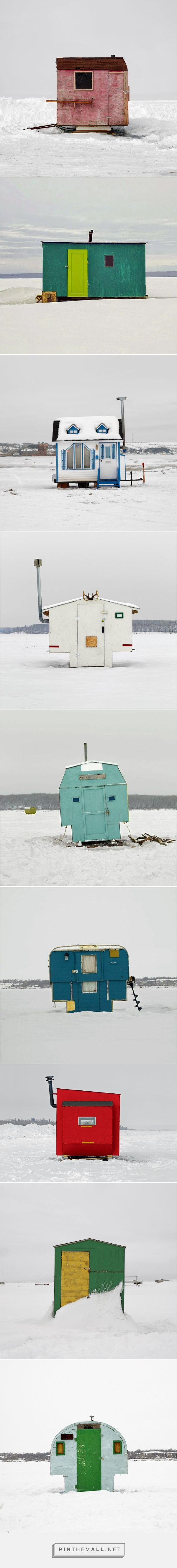 A visual survey of Canadian ice huts by Richard Johnson. These temporary structures are a haphazard mix of sheet metal, faux wood paneling, and waterproof tarps, providing a bit of shelter who are ice fishing. Johnson has photographed more than 800 huts in all ten provinces of Canada, and has organized the photos into a typological survey | DesignFaves
