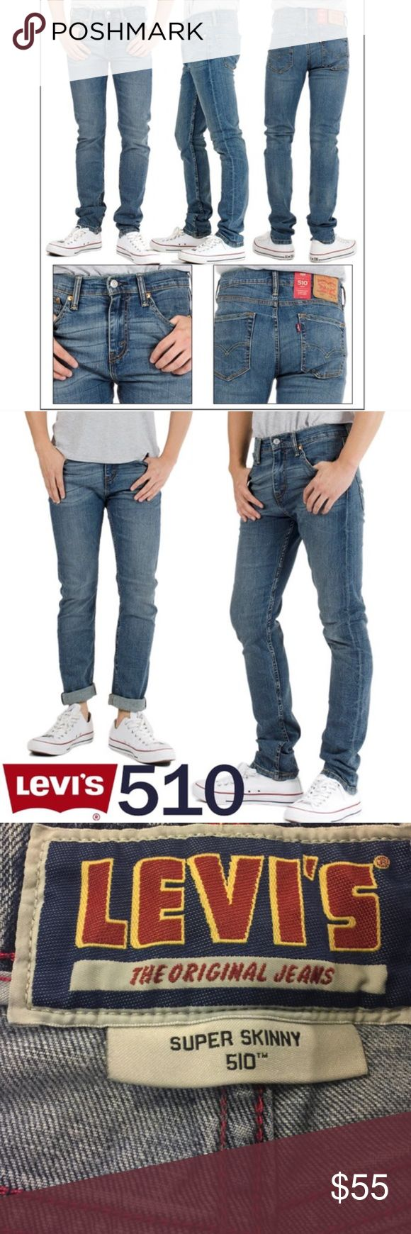 Men's Levi's 510 Super Skinny Perfectly broken in super skinny Levi's jeans in a light/dark combo wash. Waist 30 / Length 30. Levi's Jeans Skinny