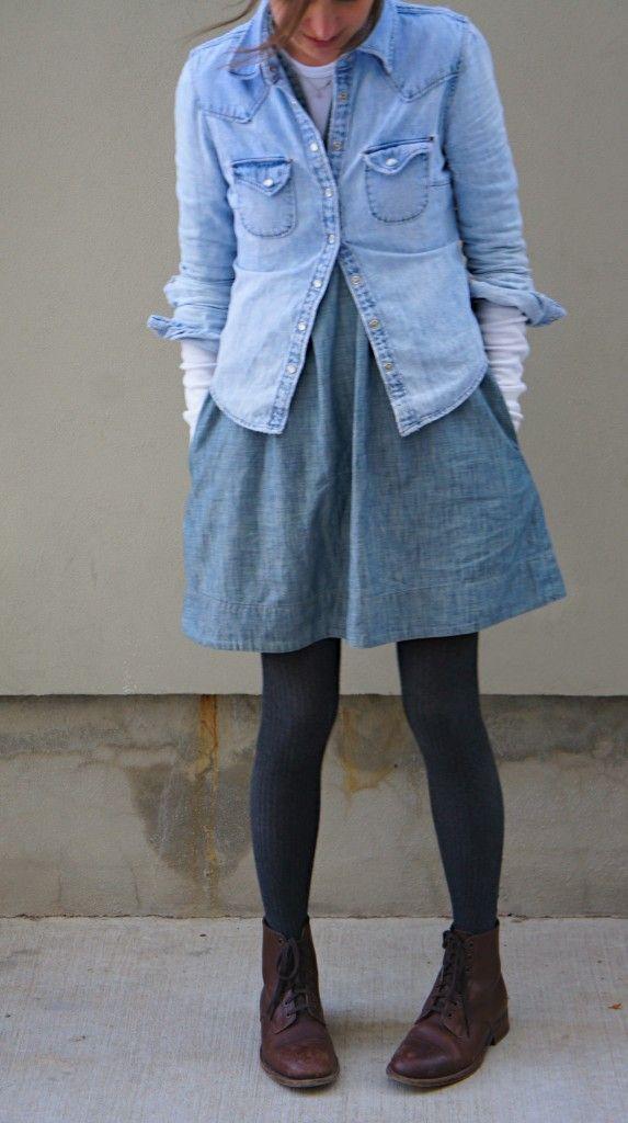 : Denim On Denim, Arrows, Blue, Denim Shirts, Double Denim, Jeans Outfit, Brown Boots, Jeans Skirts, Denim Skirts