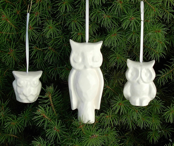 Vintage Design Ceramic Owl Christmas Tree Ornaments - Etsy