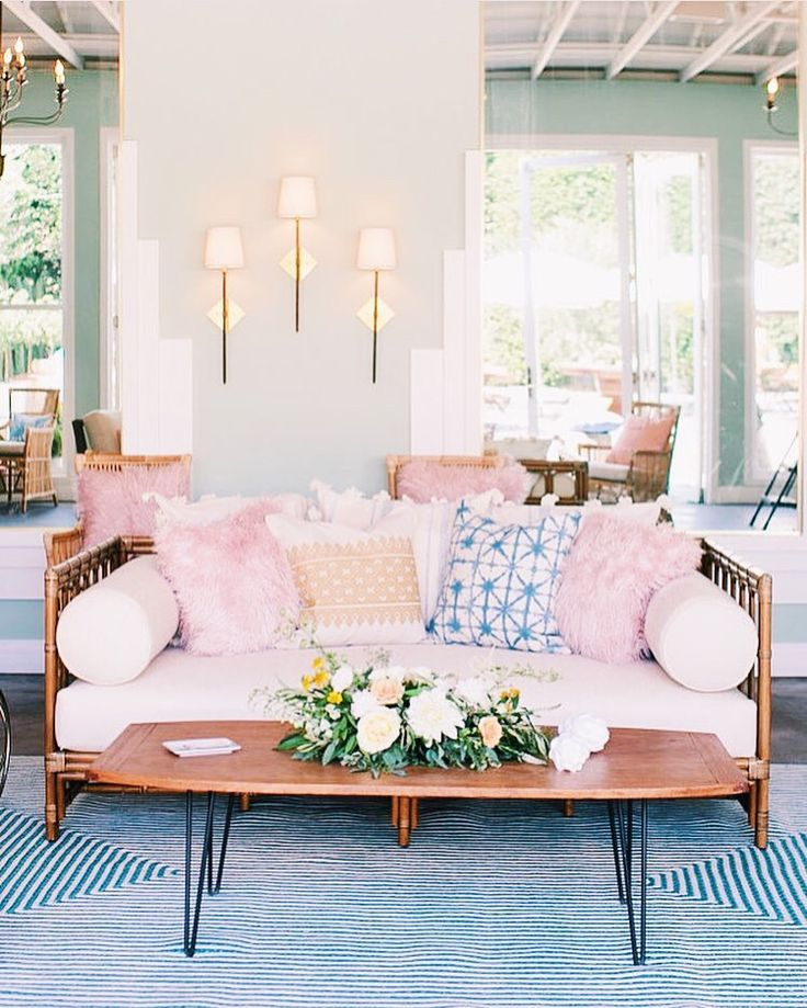 "cupcakekristie: "" phinny daybed + blush faux fur pillows + lars coffee table + otto rug """