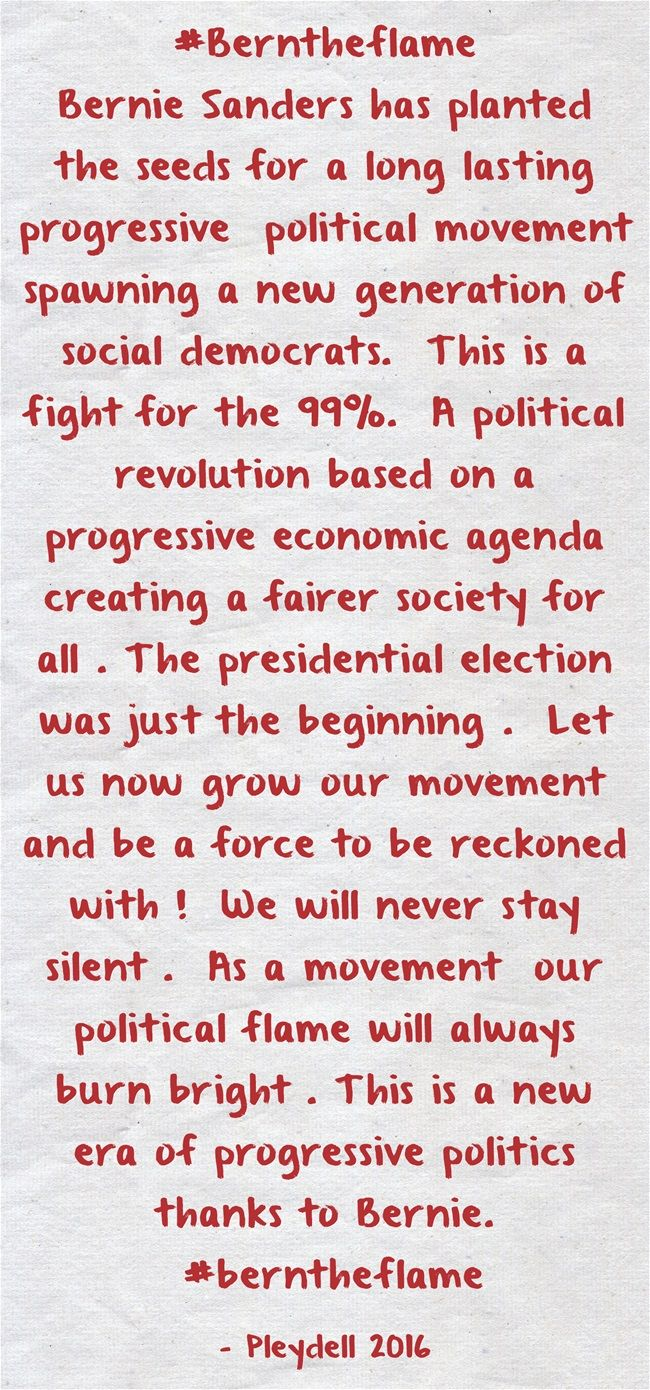 #Berntheflame Bernie Sanders has planted the seeds for a long lasting progressive political movement spawning a new generation of social democrats. This is a fight for the 99%. A political revolution based on a progressive economic agenda creating a...