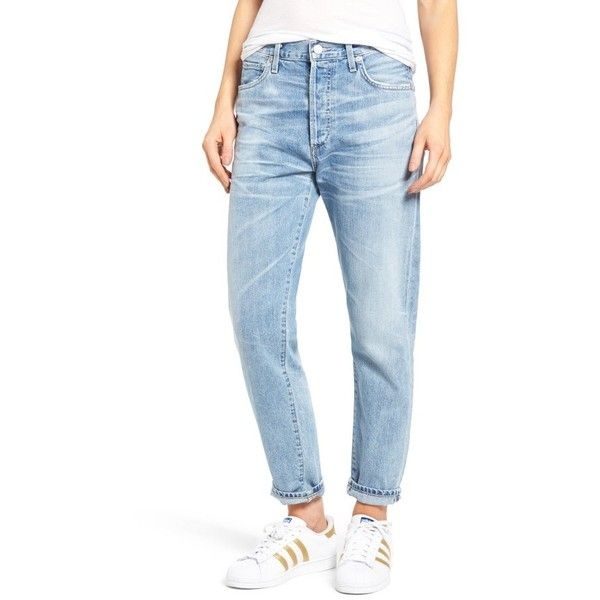 Women's Citizens Of Humanity Liya High Waist Boyfriend Jeans ($228) ❤ liked on Polyvore featuring jeans, sunday morning, blue jeans, citizens of humanity jeans, slouch jeans, highwaist jeans and saggy jeans