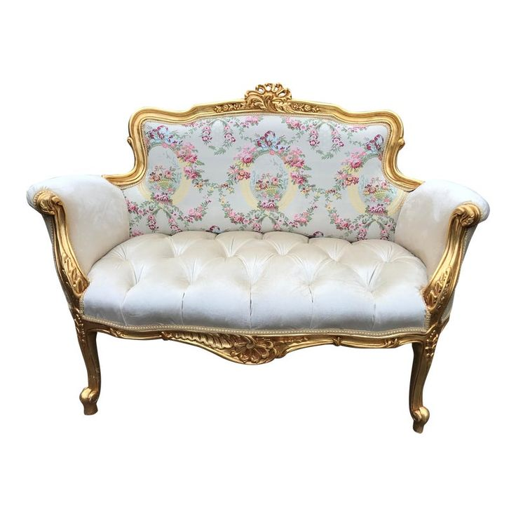 Contemporary Gold and White French Louis XVI Style Settee   – Products