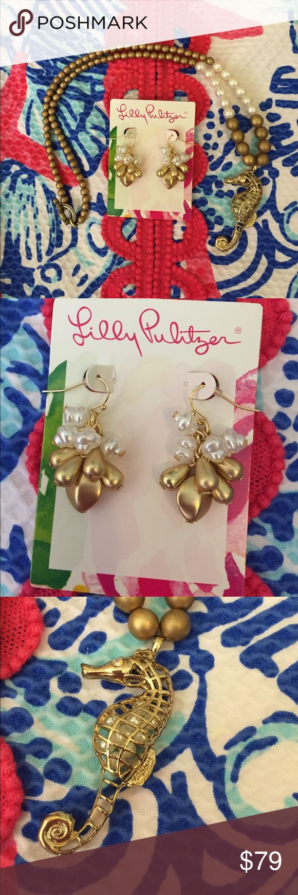 Lilly Pulitzer Pearl earrings &REAL Pearl necklace NEW Lilly Pulitzer Pearl earrings with matching Handmade REAL pearls necklace 📿featuring a beautiful seahorse gold charm. Price is firm. No trades. Thanks for shopping with us! Lilly Pulitzer Jewelry