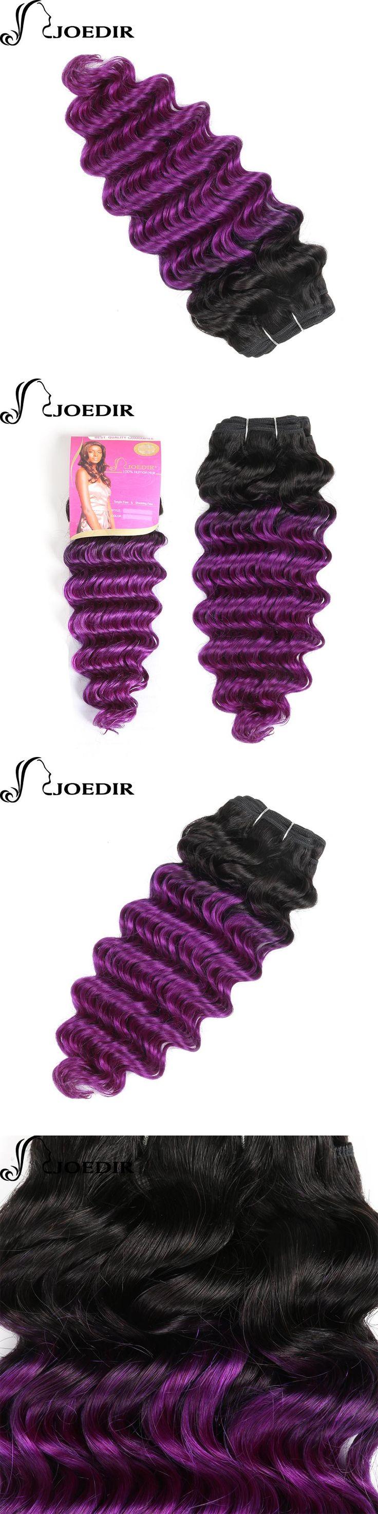 Joedir Pre-Colored Deep Wave Indian Hair 1 Bundles Ombre Purple  Human Hair Bundles Remy Hair Weave T1bPurple  Hair Extensions